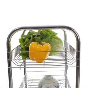 La parte superior de laminación de metal de almacenamiento de la cocina sirviendo a la cesta Carro (JP-SC984C)