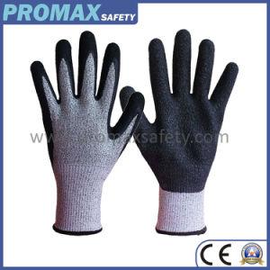 Coupe Chineema gants de latex ondulée noir avec paume enduite
