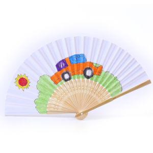 Großhandelszoll gedruckter Bambushandfaltender Gewebe-Handventilator für Geschenk