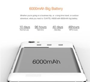 De Androïde 5.1 Slimme Cellulaire Telefoon van Oukitel K6000 4G 5.5  Cellphone