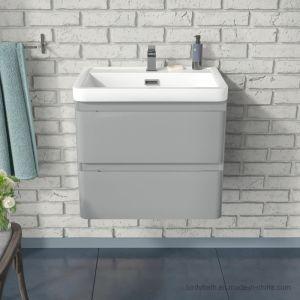 La parete grigio-chiaro del dispersore del bacino della stanza da bagno di 600mm ha appeso l'unità di vanità