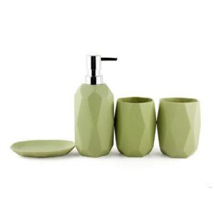 4 pièces accessoires de salle de bains set céramique vert