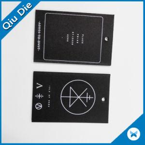 Das schwarzes seitlicher DruckenHangtag des Papier-für Kleidung