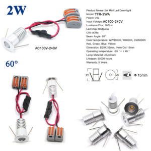 2W 110V 220V LED Schrank-Deckenleuchte des Punkt-Licht-Mini-LED helle