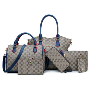 OEM/ODM는 형식 핸드백 6PCS Handbag 고정되는 PU 가죽 여자 끈달린 가방 숙녀를 도매한다