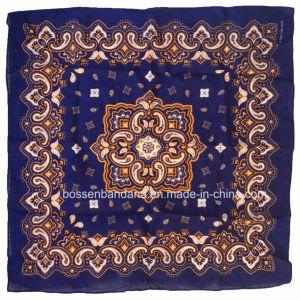 OEMの農産物はスクリーン印刷の青いペーズリーの綿のHeadwrapのバンダナをカスタム設計する