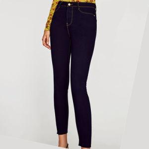 Женщин Леди Высокая поясная Coton растянуть вышивкой моды Skinny установите синие джинсы