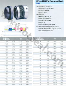 Эластомер сильфона механическое уплотнение B680 2