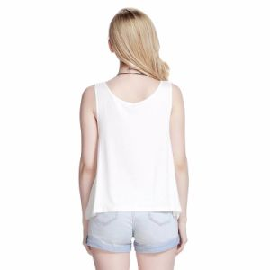 Tanktop stampato bianco alla moda per la signora