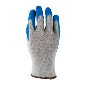 10g Cinzento Claro camisa de algodão com revestimento Crincle Látex azul na luva de trabalho da Palm