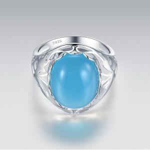 La alta calidad 925 Anillo de Plata con cristal azul ovalada
