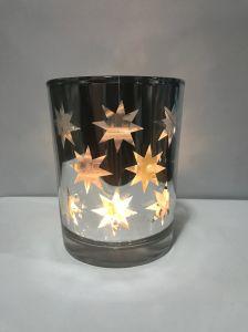 Illuminazione di vetro del vaso della decorazione di natale con la stella d'argento