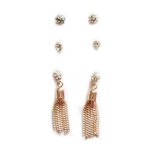 Hot Sale Nouveau design en métal avec une chaîne de pierre de cristal de goujon Tassel Bijoux Earring défini