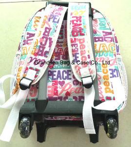 Sac multi de gosse d'école de course de molleton de fonction de chariot et de sac à dos à barre d'attelage de qualité (GB#10008)