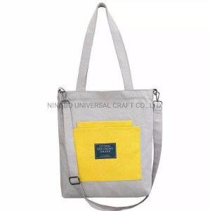El logotipo impreso digital personalizado de compras normal cremallera algodón Canvas Tote Bag