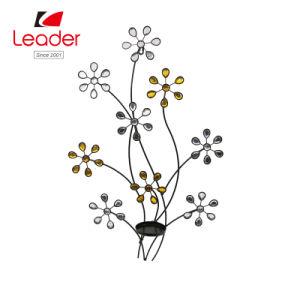 Fleur de métal de l'art mural avec porte-bougie Décoration pour la maison