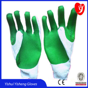 10 Zeichenkette-der Latex des Anzeigeinstrument-2 beschichtete Arbeits-Handschuhe für Sicherheits-Arbeit