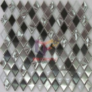 Rhombique en verre et métal mixte en acier inoxydable Crystal mosaïque (CFM807)