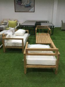 Qualidade de Alta Birmânia pátio de madeira de teca sofá com almofada confortável