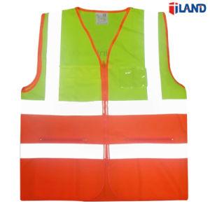 Vest van de Veiligheid van de Band van de Stof van het Zicht van de Kleur van de Sluiting van de ritssluiting het Dubbele Hoge Fluorescente Gebreide Weerspiegelende