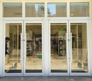 Doppio portello di vetro lustrato di alluminio della stoffa per tendine usato posto commerciale (ACD-008)