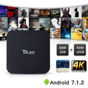 Heißer Verkauf lud androider intelligenter Fernsehapparat-Kasten Tx95 mit Amlogic S905X 2GB RAM/16GB ROM-gesetztem Spitzenkasten mit Digitalanzeige Kodi voll Support WiFi 2.4G plus 5.8g, BT