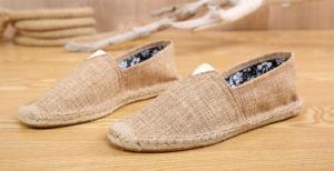 Diseño muestral de Venta caliente hombres zapatos planos de cáñamo