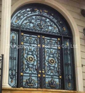 La parte superior del arco de entrada de la galvanización de Grand personalizada de la puerta de hierro forjado hechas a mano