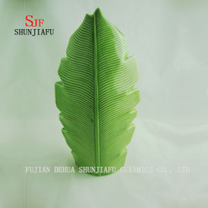 3つのサイズの緑のバナナの葉の陶磁器のつぼ