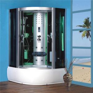 Bastidor de aluminio bandeja elevada cabina de ducha de vidrio curvo