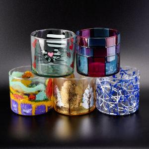 De Houders van de Kaars van het Glas van de cilinder met de Gouden Druk van de Folie