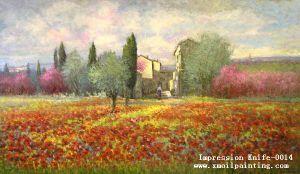 Pittura a olio impressionista della tela di canapa di paesaggio - 2