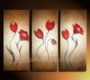 Pittura a olio di Red Flower Group dei 3 pannelli su Canvas Handmade Home Decor
