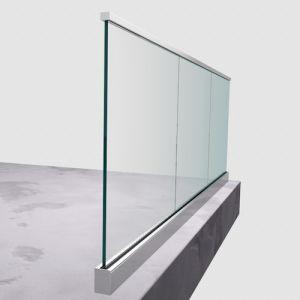 Canal de pasamanos de aluminio u vidrio montaje superior 1kn