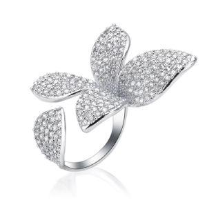 Регулируемый медный кубический циркон двойных зубцов мода украшения кольцо