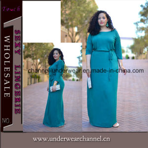 Graisses que les femmes élégant à manches longues femmes Maxi Tenue décontractée (TMKF488)