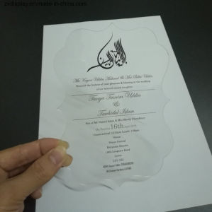 Les invitations de mariage en acrylique en plastique de luxe les cartes avec enveloppe de papier