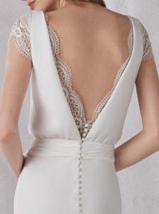 Con reborde de encaje gasa vestido de boda Mermaid Qh5525