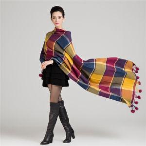 Fashion Wool Knitted Rabbitの女性毛皮の球の冬のショール(YKY4483)