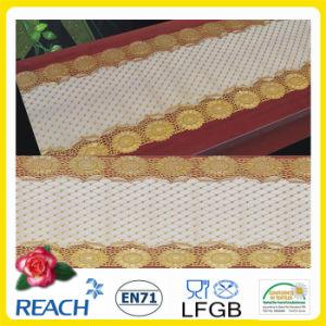 Kurbelgehäuse-Belüftung gedrucktes langes Spitze-Tischdecke-Gold/Silber