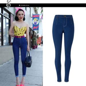 Cor pura Azul Escuro Skinny jovens senhoras Legging Jeans