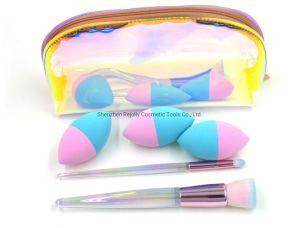 Hot vender maquillaje holográfico de cepillo con mango de Claro en la bolsa de cremallera de color de ensueño
