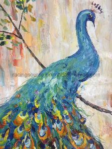 孔雀のキャンバスの油絵の壁の装飾のための動物の芸術の絵画