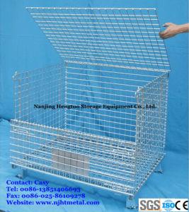 Plegable y apilable de palets de malla de alambre de metal galvanizado jaula para los depósitos