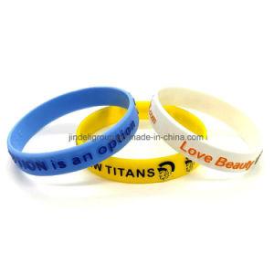 Wristbands di gomma stampati impressi popolari del Wristband del silicone per il commercio all'ingrosso