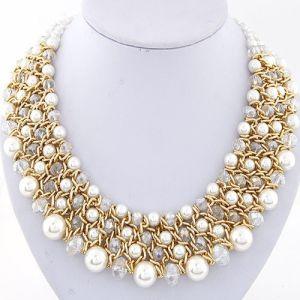 Le collane di istruzione 2017 accessori di cristallo delle donne delle collane di istruzione delle collane & dei pendenti dell'annata dei monili della perla grandi comerciano