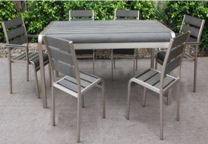 Giardino esterno Furniture Brushed Aluminum Dining Table e Chair Set (BZ-BR012)