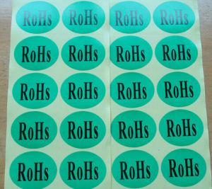 Etiquetas engomadas de etiquetado de la certificación oval de RoHS