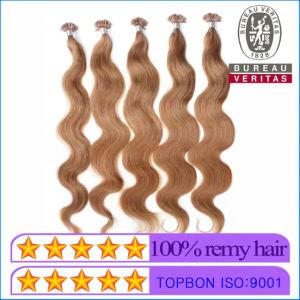 Luz de cor castanha com ponta em U Extensão de cabelo Virgem Humano Remy Hair