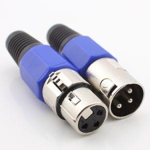 XLR fêmea/macho de 3 Pinos do conector do cabo de áudio de microfone